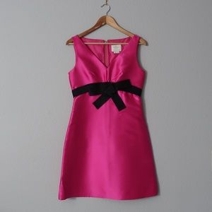 Pink A-Line Kate Spade Dress with Black Bow